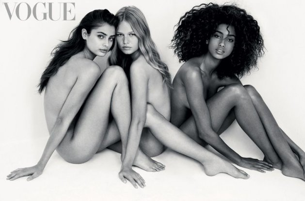 Imaan Hammam, Taylor Hill & Anna Ewers by Patrick Demarchelier, VOGUE UK February 2017