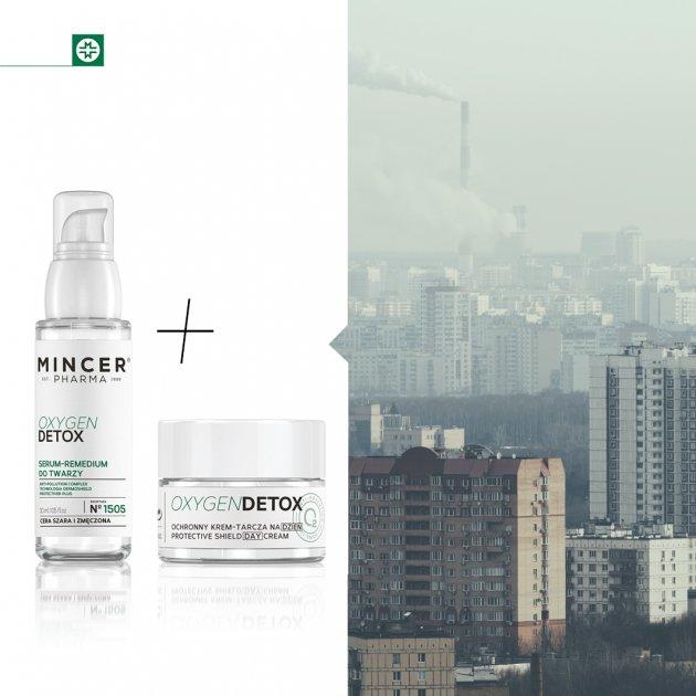 Mincer Pharma Oxygen Detox Serum-remedium do twarzy N° 1505 & Ochronny krem-tarcza na dzień SPF 20 N° 1501