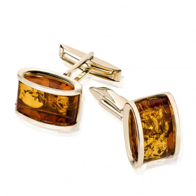 Złote spinki do mankietów z bursztynami, 5490 zł